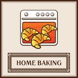Fresh croissants on the background of the oven. Home baking. Fresh croissants on the background of the oven. Home baking icon  illustration Stock Photography