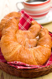 Fresh croissants in basket Royalty Free Stock Image