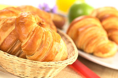 Fresh Croissants in Basket Stock Image