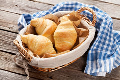 Fresh croissants basket Stock Image