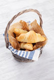 Fresh croissants basket Stock Photo