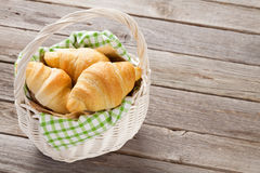 Fresh croissants basket Royalty Free Stock Images