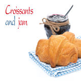 Fresh croissants and berry jam, isolated Royalty Free Stock Photography
