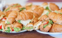 Fresh Croissants, Breakfast sandwiches.Picnic summer food Stock Photo
