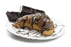 Fresh croissants with chocolate Royalty Free Stock Photo