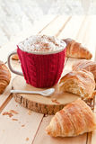 Fresh croissants and coffee Royalty Free Stock Photos