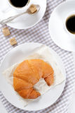 Fresh Croissants with coffee for breakfast Royalty Free Stock Photography