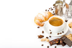 Fresh croissants and coffee. Traditional breakfast with fresh croissants and coffee on white background Stock Image