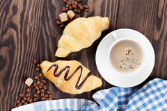 Fresh croissants and coffee Royalty Free Stock Images