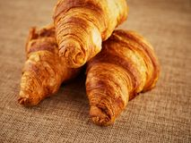 Fresh croissants on a dark background Royalty Free Stock Image
