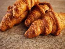 Fresh croissants on a dark background Royalty Free Stock Images