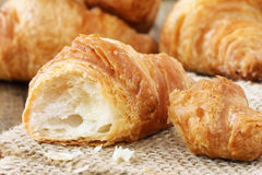 Fresh croissants. Freshly baked French croissants closeup Royalty Free Stock Images