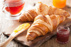 Fresh croissants with jam for breakfast Stock Photo