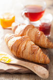 Fresh croissants with jam for breakfast Stock Photography