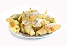 Fresh croissants with jam isolated on white background Stock Photos