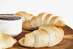 Fresh croissants with jam Royalty Free Stock Photography