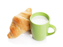 Fresh croissants and milk Stock Images