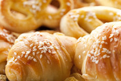 Fresh croissants and pastries. Bakery Royalty Free Stock Photo