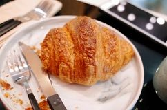 Fresh Croissants on table in morning stock photos
