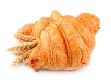 Fresh croissants with wheat Stock Photo
