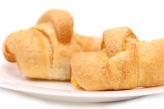 Fresh croissants on white plate Royalty Free Stock Images