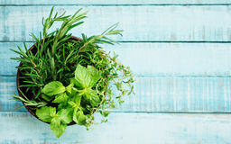 Image result for rosemary on blue wooden table