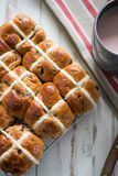 Fresh cross buns for breakfast. From above Royalty Free Stock Photo