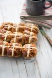 Fresh cross buns for breakfast. On tray Royalty Free Stock Photos
