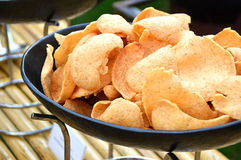 Fresh crunchy prawn crackers. On party table Royalty Free Stock Photos