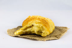 Fresh crusty bread on white isolated background Stock Photo