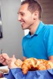 Fresh crusty croissants Royalty Free Stock Photos
