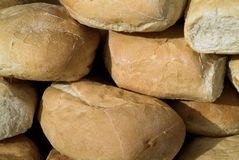 Fresh crusty white bread. Close-up of stack of fresh crusty white bread Stock Photo