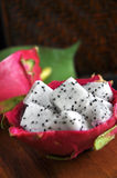 Fresh cube of dragon fruit Royalty Free Stock Photos