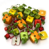 Fresh cubic fruits. 3D rendering of a selection of cubic fruits Stock Images