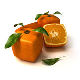 Fresh cubic orange composition. Composition of cubic oranges on a white background Royalty Free Stock Image