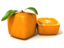 Fresh cubic orange and a half small Stock Photo