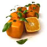 Fresh cubic oranges. Composition of cubic oranges on a white background Royalty Free Stock Photo