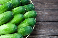 Fresh cucumber in basket Stock Images