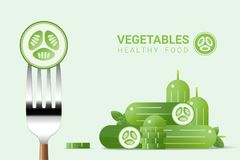 Fresh cucumber on fork with pile of cucumbers background , healthy food concept. Vector , illustration Stock Photos