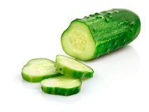 Fresh cucumber fruits with cut Royalty Free Stock Photography