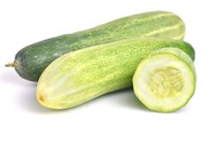 Fresh cucumber isolated on white background. Fresh cucumber also named as Cucumis sativus; cucurbitaceae; or Cucumis cucumber isolated on white background Royalty Free Stock Images
