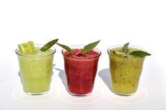 Fresh cucumber, kiwi and raspberry smoothies Stock Image