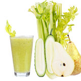 Fresh cucumber, pear and celery juice. Slices of fruits and vegetables Royalty Free Stock Image