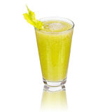 Fresh cucumber, pear and celery juice.  on white background. Royalty Free Stock Photos