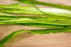 Fresh cucumber peelings. Close up Royalty Free Stock Photo