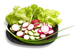 Fresh cucumber, radish and Lettuce Stock Photo