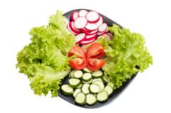 Fresh cucumber, radish, tomatoes and Lettuce Royalty Free Stock Image
