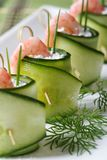 Fresh cucumber rolls with shrimp and cheese macro Royalty Free Stock Photography