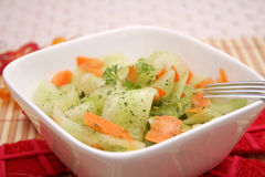 Fresh cucumber salad with carrots Royalty Free Stock Photos