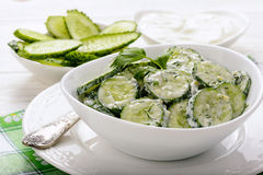 Fresh cucumber salad with yogurt and herbs. Stock Photos
